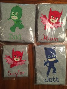 PJ Masks Shirts Family Package Catboy Gekko by TwoHeartsInStitches