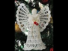 How to Crochet Angel Ornament Tutorial - Crochet Jewel Crochet Angel Pattern, Crochet Angels, Crochet Patterns, Thread Crochet, Love Crochet, Crochet Gifts, Easy Crochet, Christmas Angel Ornaments, Christmas Crafts