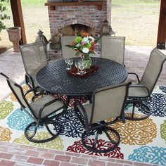 ultimat patio .com $1350.00;  overstock.com $1800.00 Casual, simple and relaxed, the Madison Bay collection combines easy going sling with durable aluminum that makes this patio furniture ideal for outdoor entertaining. Enjoy the season with style while lounging in this luxurious set.