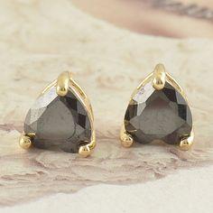 9k Yellow Gold Filled Black Heart CZ Hypo-Allergenic 7mm Stud Pierced Earrings #Stud