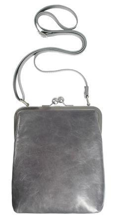BT2 LOLA vintage granit kleine Ledertasche mit Riemen grau leather bag Damen Handtasche