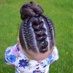 Pull Through Braid framed by two dutch braids into a bun today. Happy Friday to all❤️ . Little Girl Braids, Braids For Kids, Girls Braids, Lil Girl Hairstyles, Kids Braided Hairstyles, Cool Hairstyles, Hairstyle Ideas, Princess Hairstyles, Curly Girls
