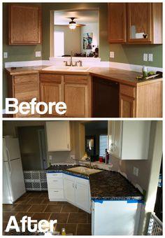 """DIY Painted """"Granite"""" Countertops"""