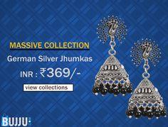 German Silver Triangle Jhumkas with Peacock Stud Product code: JUJA90J156 Retail price: 385/- Sale price : 369/-