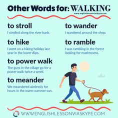words for WALKING in English - Intermediate Level English Other words for walking. How to improve vocabulary in English.Other words for walking. How to improve vocabulary in English. English Grammar Worksheets, Learn English Grammar, English Writing Skills, English Vocabulary Words, Learn English Words, Grammar And Vocabulary, English Idioms, English Phrases, English Language Learning