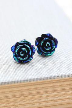 Rose Stud Earrings Black Teal Blue Metallic ... I so love these. I want them. ~