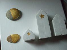Un paysage à ma manière: galets peints, petites maisons de bois...