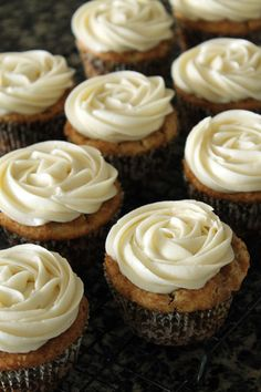 Cinnamon roll cupcakes -Cinnamon swirl cake with cream cheese frosting. (You can even add a yummy glaze!)