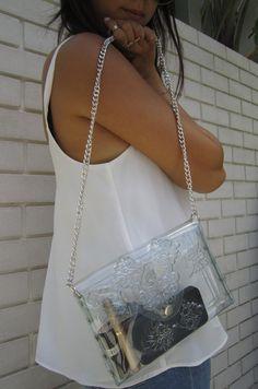 Translucent clutch bag clear clutch purse small PVC by MeDusaBrand