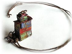 Little Asian Shack Pendant Necklace no2 Rusted Painted by bigdiff