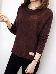 Round Neck Patchwork Elegant Plain Long Sleeve Knit Pullover – wanokitty pullover outfit jeans athletic pullover with jeans athletic pullover hoodie Loose Knit Sweaters, Pullover Sweaters, Sweater Outfits, Outfit Jeans, Types Of Collars, Comfortable Outfits, Long Sleeve, Casual, Sleeves