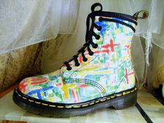 Vintage Unusually Bright and Colorful Dr Martens Original 8 Up Combat Boots  UK 4 / USA  Mens 5 or  Womens 6 - 6 1/2   Made In England. $95.00, via Etsy.