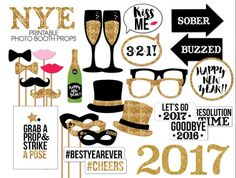 Take some cute photo booth selfies and start the year off with great memories!---- Capture priceless photos & cherish unforgettable memories with this- New Years Eve- Photobooth Prop Printable. This is a 15 page printable PDF--Divided into 3 files. All pages set up to print on letter size- 8.5 x 11.  Includes: Nerdy Glasses New Years Masks Lips Oversized 2017 numbers Oversized Champagne & glasses Bowties New Years Hat Drunk & Sober Arrows Lets go 2017 , Good Bye 2016, Resolution Time Word…