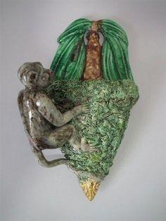 Majolica Palissy monkey wall pocket
