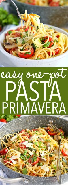 Vegetarian One-Pot Pasta Primavera This Easy One Pot Pasta Primavera is going to become your family's new favourite healthy weeknight meal! It's made with basic ingredients you probably already have in your kitchen, and it's so creamy and delicious! Light Pasta Recipes, Yummy Pasta Recipes, Easy Dinner Recipes, Basic Pasta Recipe, Simple Pasta Recipes, Veggie Pasta Recipes, Easy One Pot Meals, Easy Dinners, Lunch Recipes