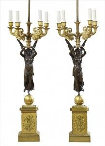 Pair Of French Empire Patinated And Gilt Bronze Four-Light  Candelabra   c. Early 19th Century