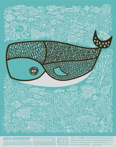 Blu Raspberry French Paper Poster: by CSA design whale illustration Art And Illustration, Illustrations Posters, Whale Art, Art Plastique, Illustrators, Graphic Art, Design Art, Paper Design, Interior Design