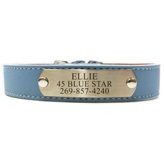 Italian Leather Dog Collar With Engraved Nameplate - Light Blue | PupLife Dog Supplies