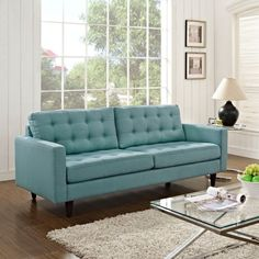 Teal Upholstered Sofa.