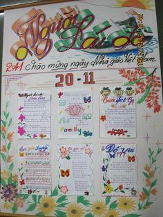 Báo tường - Newsletter made and decorated by students to celebrate Vietnamese Teachers' Day. Nhớ ghê những ngày 20/11 lê la ở nhà cô cùng các bạn để vẽ, để tô và viết chữ đẹp :)  Cả mấy lần sang nhờ anh hàng xóm có 10 hoa tay trang trí hộ nữa ^^