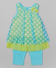 Another great find on #zulily! Buster Brown Capri Polka Dot Tunic & Leggings - Infant, Toddler & Girls by Buster Brown #zulilyfinds