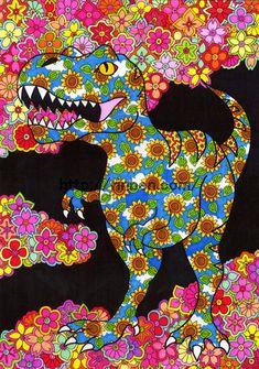 Screen Wallpaper, Art Photography, Dinosaur Stuffed Animal, Japan, Floral, Illustration, Artist, Pattern, Handmade