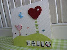 Bird Hello Mini Card.  Very Cute