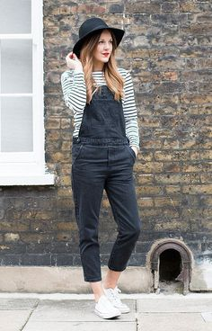 dungarees and striped top