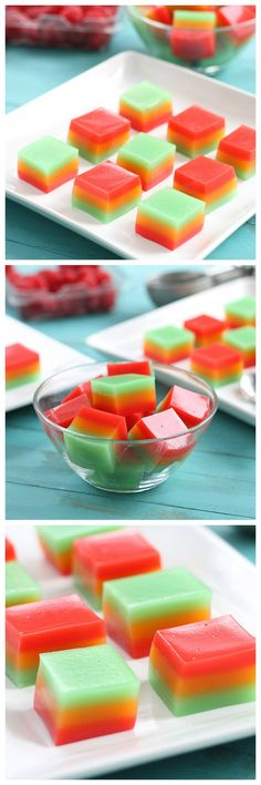 Enjoy the multiple flavors of sherbet stacked up in these beautiful, bouncy, boozy little bites.