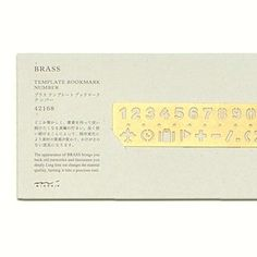 Brass Template Bookmark - Number by Midori from Bookbinders Online