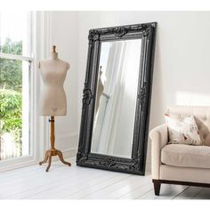Buy Full Length Black Mirror - 183 x online now, with Free UK Delivery Black Wall Mirror, Rustic Wall Mirrors, Shabby Chic Mirror, Mirror Design Wall, Mirror Wall Living Room, Leaner Mirror, Mirror Wall Bedroom