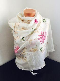 Flowers pattern shawl bohemian scarf women accesories by GCbazaar