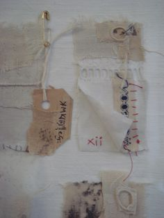 Jan Miller, linen shards.Jan Millers textile art begins and ends with a collection researching old and creating new. It is a circular process of making and thinking informed by her background in science and domestic sewing: experience and memory, method and order, repetition and re-use. Small installations hold the finished narrative.
