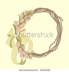 Spring tulips wreath vector - stock vector
