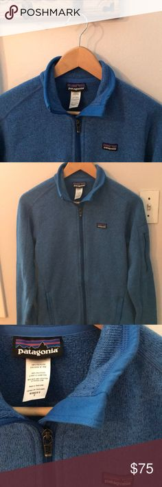 Women's Patagonia Better Sweater Blue Size Small New without tags, worn twice!  Patagonia Better Sweater zip up jacket size small.  Zip pockets on each side plus arm zip pocket.  Made of warm, midweight polyester fleece. Patagonia Jackets & Coats