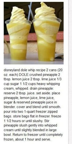 Disneyland dole whip recipe by Shiree Shaffer Ww Recipes, Summer Recipes, Sweet Recipes, Dessert Recipes, Cooking Recipes, Disney Recipes, Yummy Drinks, Delicious Desserts, Yummy Food