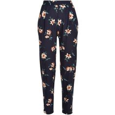 Blue Floral Print Trousers ($15) ❤ liked on Polyvore featuring pants, trousers, bottoms, calça, ankle length pants, floral printed pants, floral trousers, blue trousers and blue pants