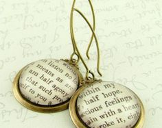 "This is so sweet! Words from ""Persuasion"" on pendants! ""I am half agony half hope."""