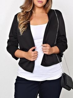 Casual Solid Color Plus Size 3/4 Sleeve Blazer For Women