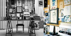 the workspace of Yves Saint Laurent, notice the dog bed.