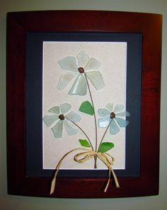 Items similar to Blue Beach Glass Flowers with Raffia Bow on Etsy Sea Glass Beach, Sea Glass Art, Sea Glass Jewelry, Mosaic Glass, Sea Crafts, Sea Glass Crafts, Mosaic Flowers, Glass Flowers, Sea Glass Colors