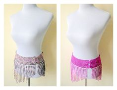 SALE: fuchsia pink belly dance beaded hip belt, belly dancer costume accessory by VintageHomage