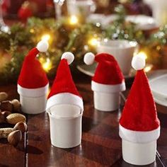 VRlinkingTM 10Pcs Small Xmas Hat Merry Christmas Decoration Wine Bottle Cover Wrap Party Decor Christmas Santa Hat for Beer Bottle Decoration 1 ** Click image for more details.