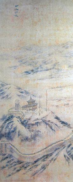 (Korea) 서성우렵 from 화성8경,1796 by Danwon Kim Hong do (1745-1806). color on silk. Seoul University Museum.