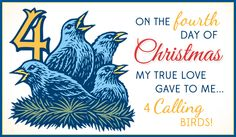 Free 4 Calling Birds eCard - eMail Free Personalized Christmas Cards Online
