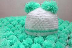 Купить Плед из помпонов детский + шапочка - мятный, белый, плед из помпонов, детский плед
