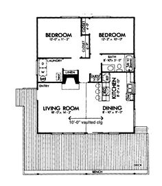Home Plans HOMEPW26299 - 900 Square Feet, 2 Bedroom 1 Bathroom ...
