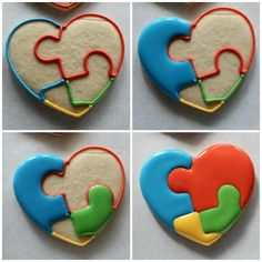 The Cookie Puzzle: Puzzle Hearts - Guest Post by The Sweet Adventures of Sugarbelle --- Autism Awareness Fancy Cookies, Heart Cookies, Iced Cookies, Cut Out Cookies, Cute Cookies, Cupcake Cookies, Sugar Cookies, Cookie Favors, Flower Cookies