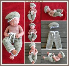 Newborn Crochet Pant and Cap Set Photo Prop by FUNKYHOOKER on Etsy, $30.00