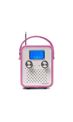 49.37$ - Songbird Radio Color: Pink from Crosley- CR8006A-PI Color: Pink Features: -Product Type:Desktop speaker -Primary Material:Other -Number of Items Included:1 -Water Resistant:No -Bluetooth:No -Auxiliary Input:Yes -CD/MP3 Player:Yes -Clock Included:Yes -Radio Included:Yes -Remote Control Included:No -USB Port:No -Wireless:No -Outdoor Use:No. Dimensions: -Overall Height - Top to Bottom:6.4 -Overall Width - Side to Side:6.4 -Overall Depth - (click on picture to read more...)